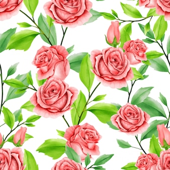 Beautiful floral watercolor leaves seamless pattern red rose