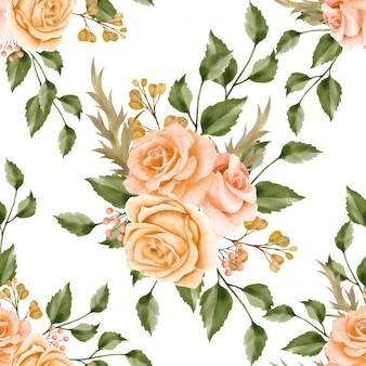 Beautiful floral watercolor leaves seamless pattern retro