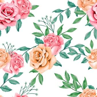 Beautiful floral watercolor leaves seamless pattern rose