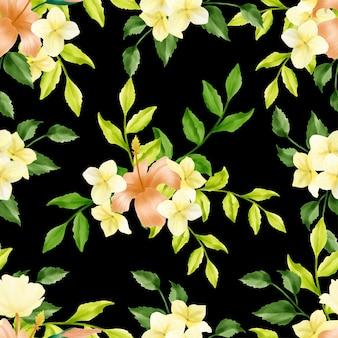 Beautiful floral watercolor leaves seamless pattern simple