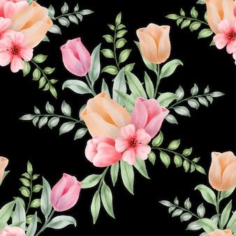 Beautiful floral watercolor leaves seamless pattern vintage