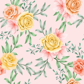 Beautiful floral watercolor leaves seamless pattern yellow