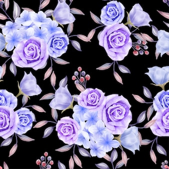 Beautiful floral watercolor leaves seamless pattern