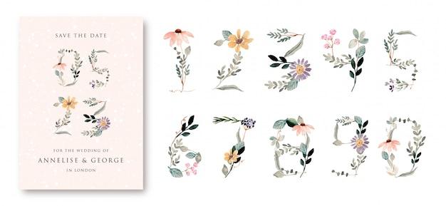 0から9セットまでの美しい花の水彩画の数字