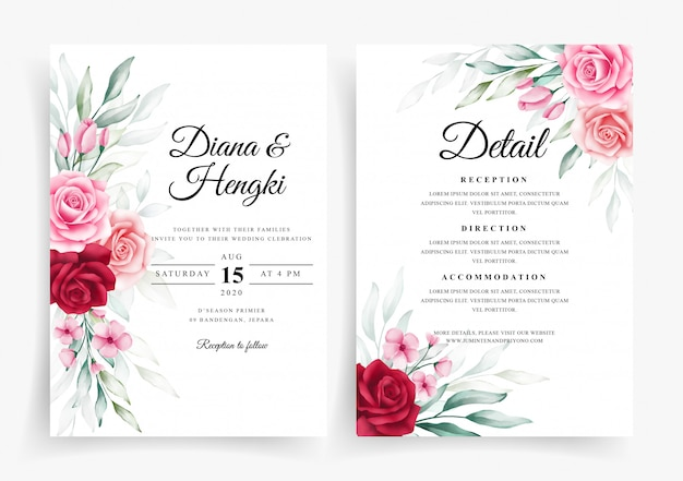 웨딩 카드 초대장 서식 파일에 아름 다운 꽃 수채화