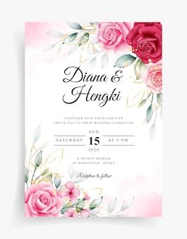 웨딩 카드 템플릿에 아름다운 꽃 수채화