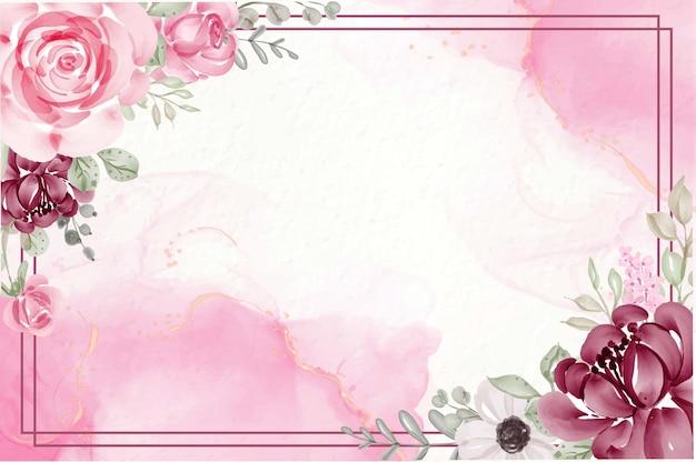 花と美しい花の水彩ピンクの背景