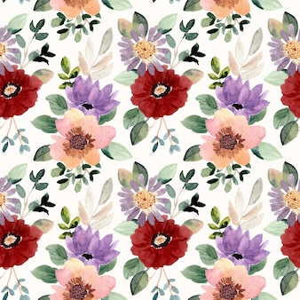 美しい花の水彩画のシームレスなパターン