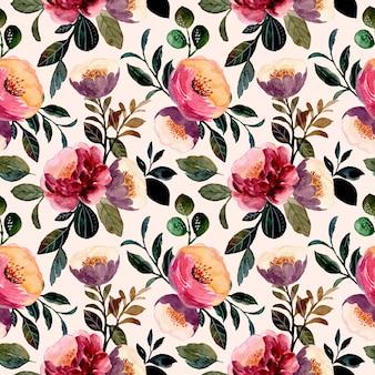 Beautiful floral watercolor seamless pattern