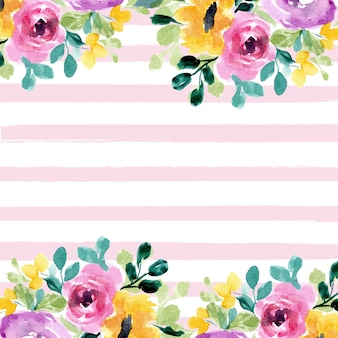Beautiful floral watercolor and stripes background