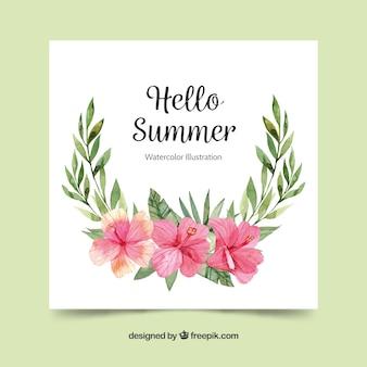 Beautiful floral watercolor summer card template