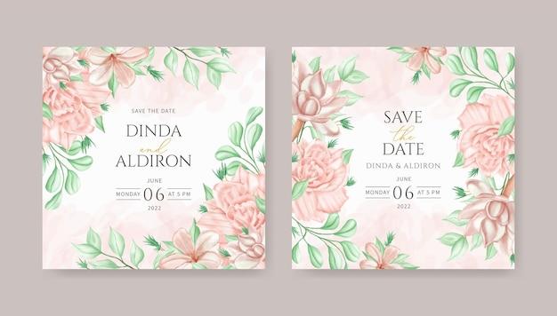 美しい花の水彩画のウェディングカードの文房具