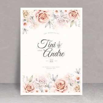 Beautiful floral watercolor wedding card template