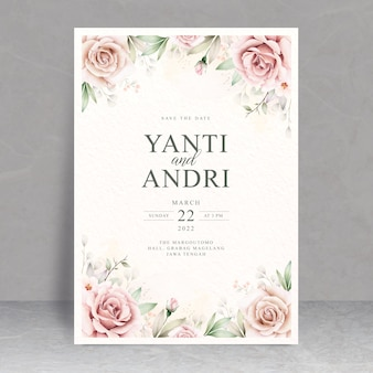 Beautiful floral watercolor wedding card theme