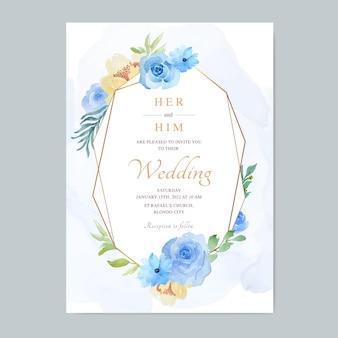 아름다운 꽃 수채화 웨딩 카드 테마