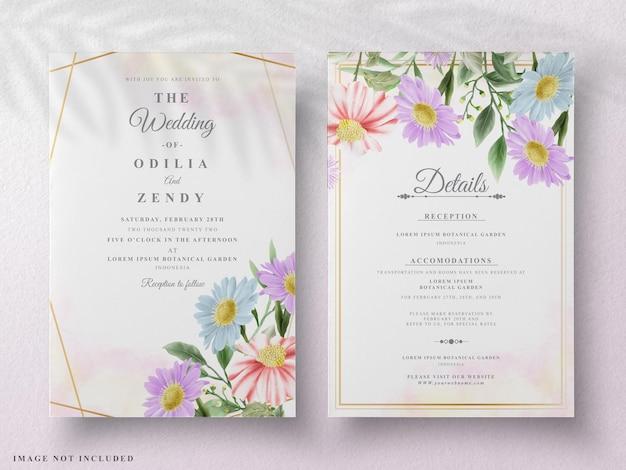 아름다운 꽃 수채화 웨딩 카드