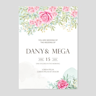 Beautiful floral watercolor wedding card
