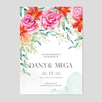 美しい花の水彩画のウェディングカード
