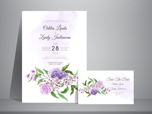 美しい花の水彩画の結婚式の招待カードテンプレート