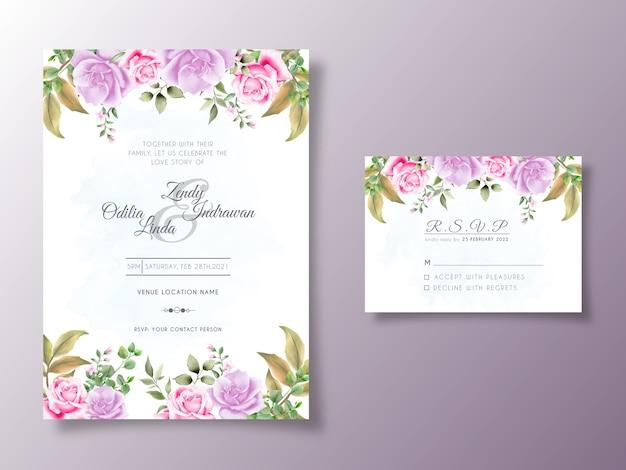 Красивая цветочная акварель свадебное приглашение шаблон