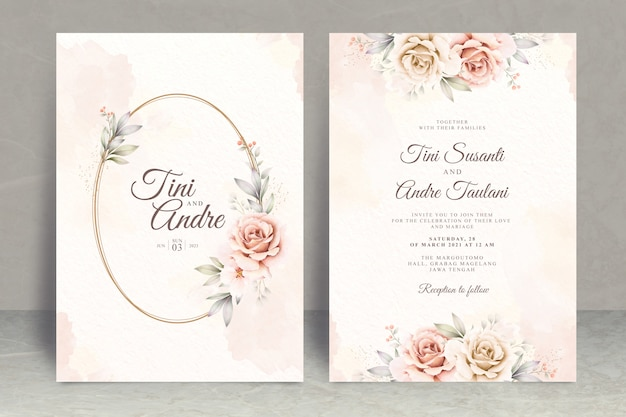 Beautiful floral watercolor wedding invitation card template