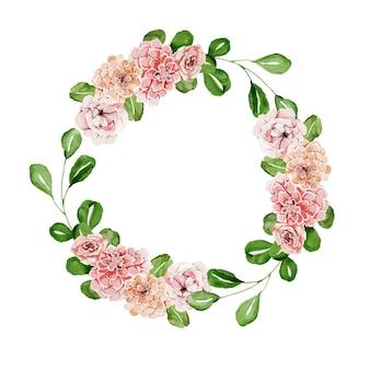 장미와 아름 다운 꽃 수채화 화 환
