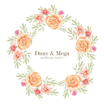 Beautiful floral watercolor wreath