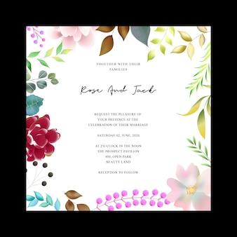 Beautiful floral wedding card design template