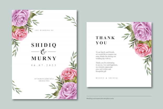 Beautiful floral wedding card template watercolor