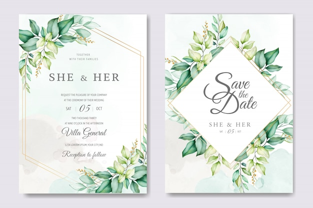 Beautiful floral wedding card template with watercolor roses and leaves