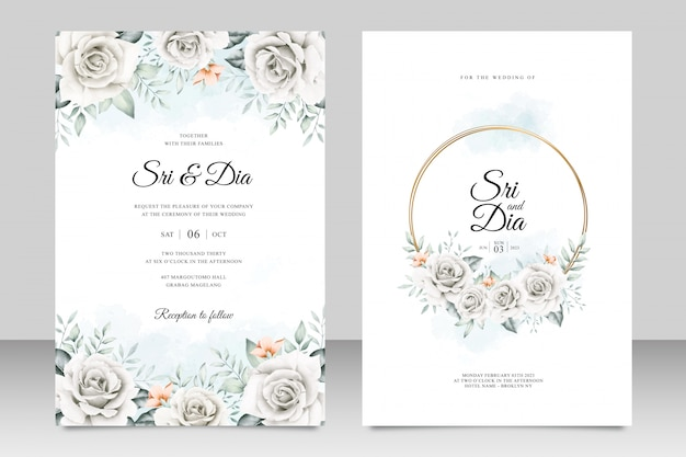 Beautiful floral on wedding card template