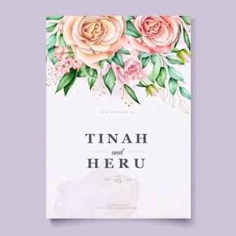 Beautiful floral wedding card template