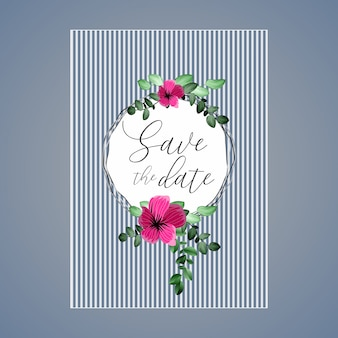 Beautiful floral wedding card with a circle and flower and leaves.