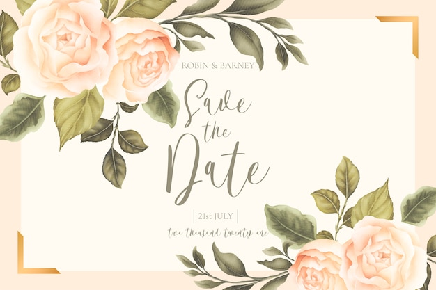Beautiful floral wedding card with peachy peonies