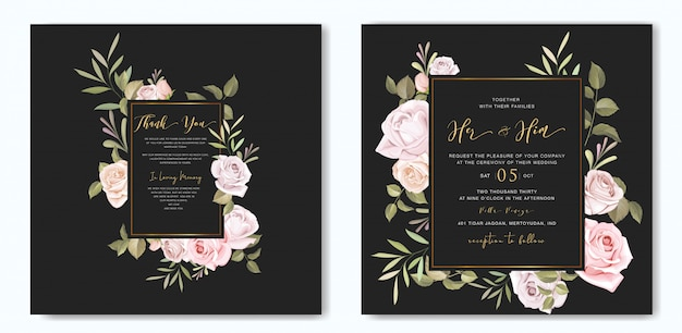 Beautiful floral wedding card with roses frame template