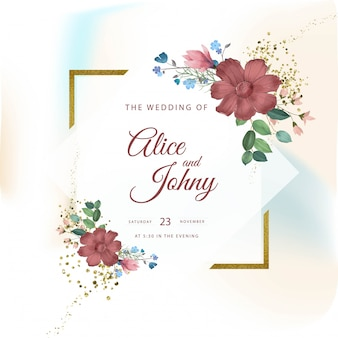 Beautiful floral wedding frame