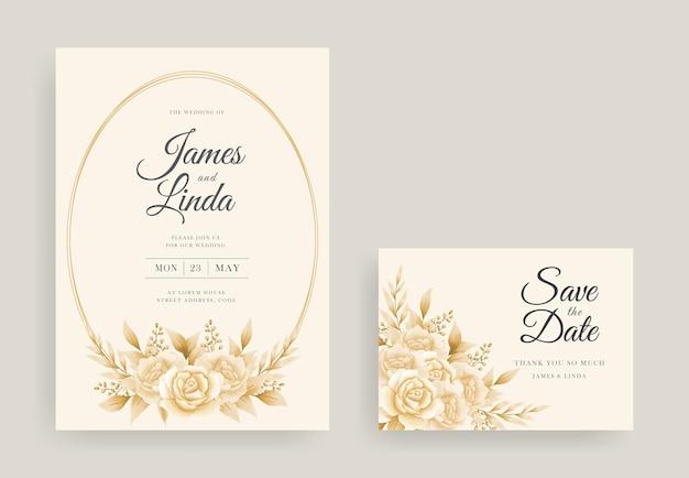 日付テンプレートを保存して美しい花の結婚式の招待カードのデザイン