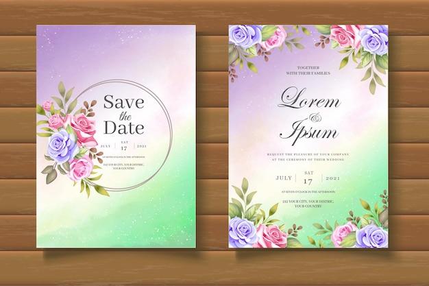 Beautiful floral wedding invitation card set