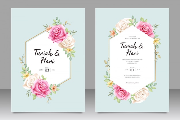 Beautiful floral wedding invitation card template on geometric shapes