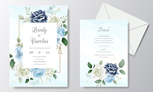 Beautiful floral wedding invitation card template set with watercolor