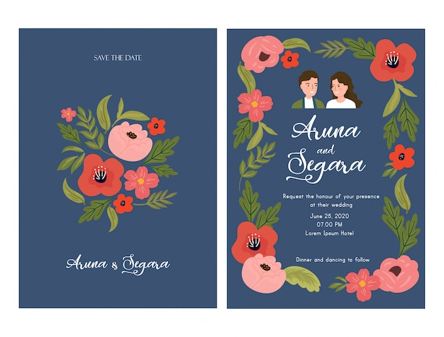 Beautiful floral wedding invitation card template with couple bride and groom illustration on blue