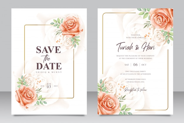 Beautiful floral wedding invitation card template with golden frame