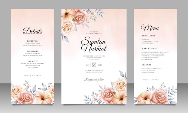 Beautiful floral wedding invitation card template with watercolor background