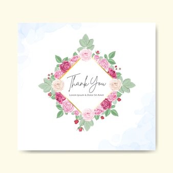 Beautiful floral wedding invitation card and template