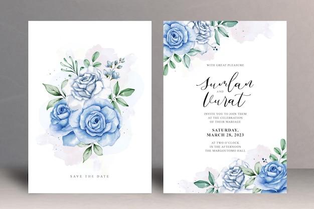 아름 다운 꽃 결혼식 초대장 카드 서식 파일