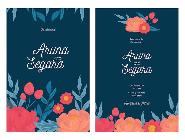 Beautiful floral wedding invitation card template.