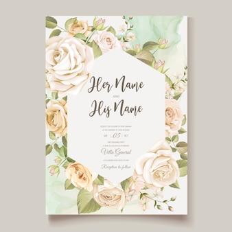 아름 다운 꽃 결혼식 안 내장 카드 템플릿