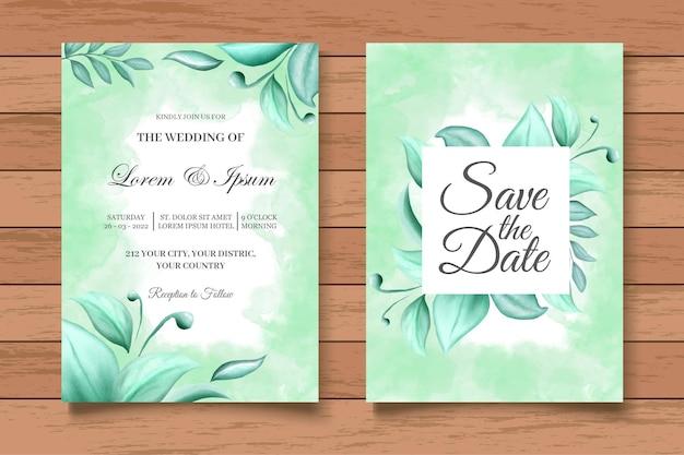 Beautiful floral wedding invitation card template