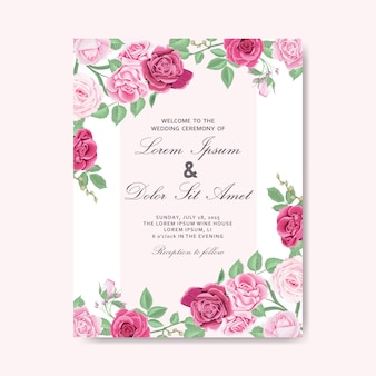 Beautiful floral wedding invitation card and templates