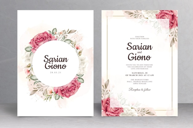Beautiful floral wedding invitation card theme